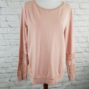 Lucky Lotus Lucky Brand Sweatshirt Blush Pink Lg